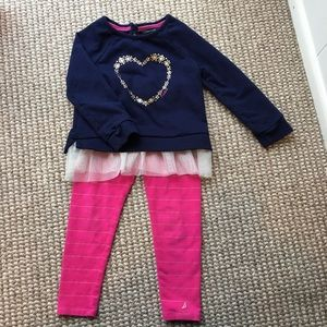 Nautica 3T navy/pink sweatshirt/leggings set